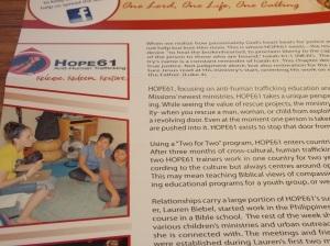 HOPE61 in OMS Australia's spring newsletter.