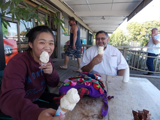 Kiana (HOPE61 volunteer, joined me on this trip) & Chuni (outgoing OMS NZ director) & I all got Hokey Pokey ice cream.