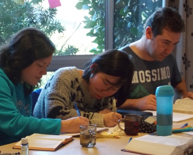 Kylie, Jenny, & Ross, during reflection/journaling time.