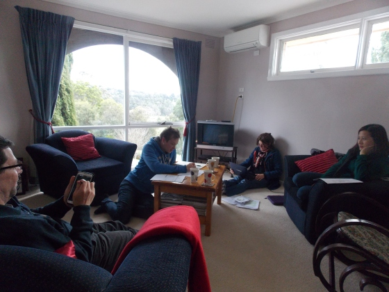 Greg, Ian, Shirley, Josie, (me behind the camera!) in our final planning stages.