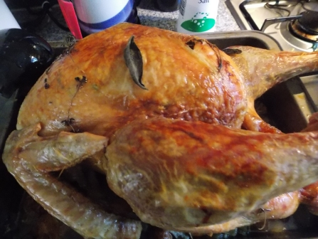 Turkey with an herb-butter rub, delish.
