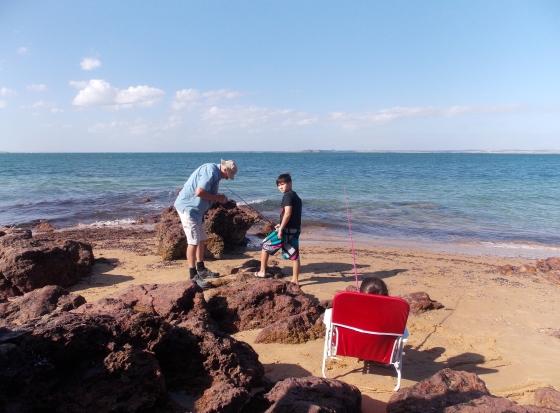 "Grandpa (""Yeh Yeh"") and Kia fishing."