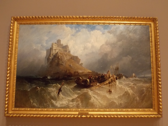 Here's a wild place. I love the steady, craggy rock and the foamy waves. National Gallery of Victoria, Melbourne, Australia.