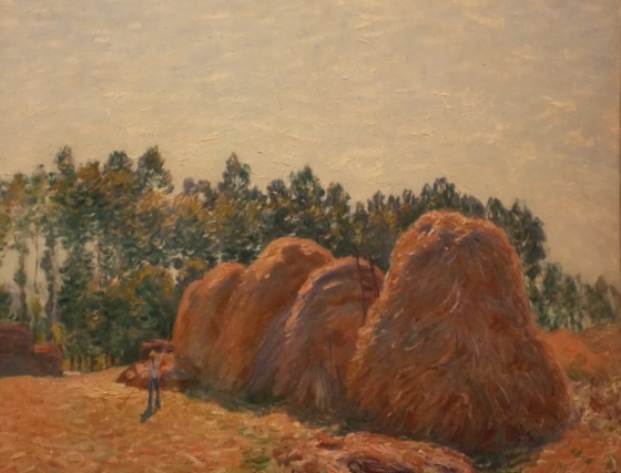 "A closer look at Sisley's painting ""Haystacks at Moret - Morning Light."" National Gallery of Victoria, Melbourne, Australia."