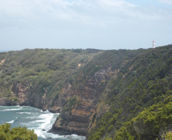 View of Cape Schank Lighthouse from Bushrangers Bay Trail, Mornington Peninsula, Victoria. Australia.